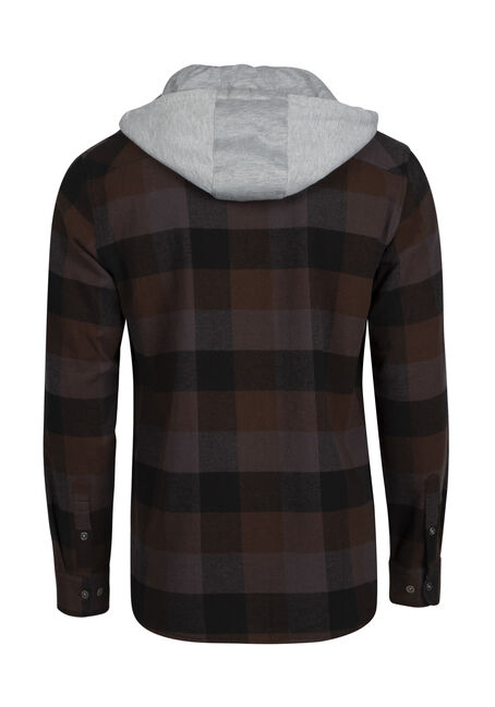 Men's Plaid Hooded Shirt Jacket, BROWN, hi-res