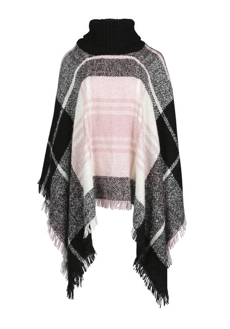 Ladies' Plaid Cowl Neck Poncho