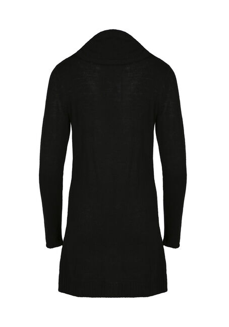 Ladies' Cowl Neck Cardigan, BLACK, hi-res