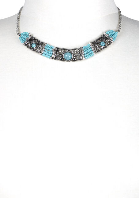 Women's Beaded Necklace, SILVER OX, hi-res