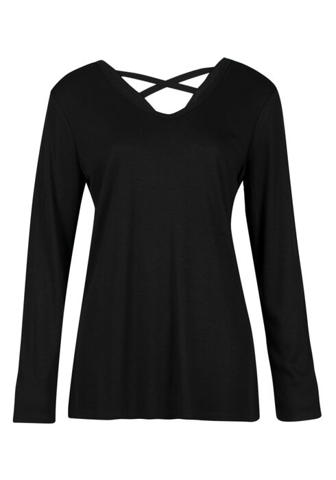 Ladies' Cross Back Tee, BLACK, hi-res