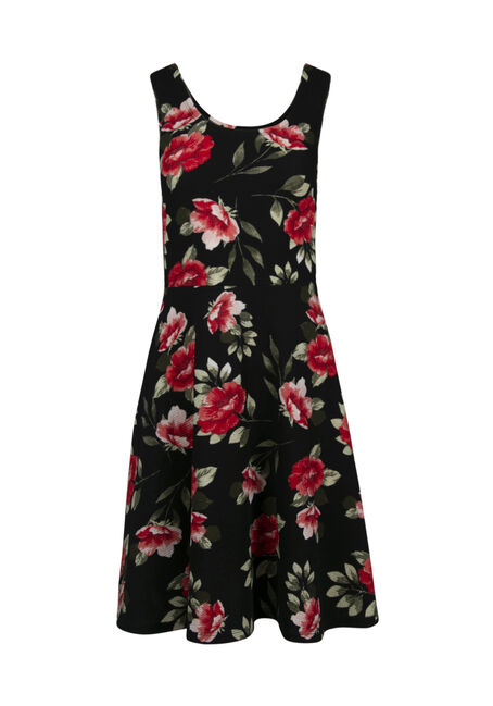 Women's Scoop Neck Floral Fit & Flare Dress