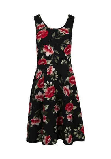 Women's Scoop Neck Floral Fit & Flare Dress, BLACK, hi-res