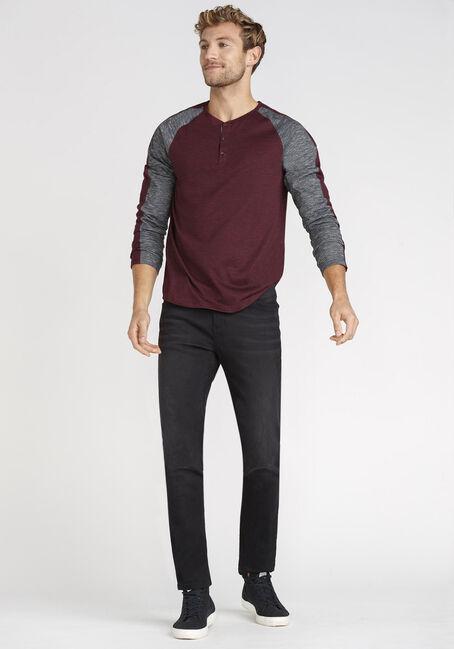 Men's Henley Sleeve Stripe Tee, HOLLY BERRY, hi-res