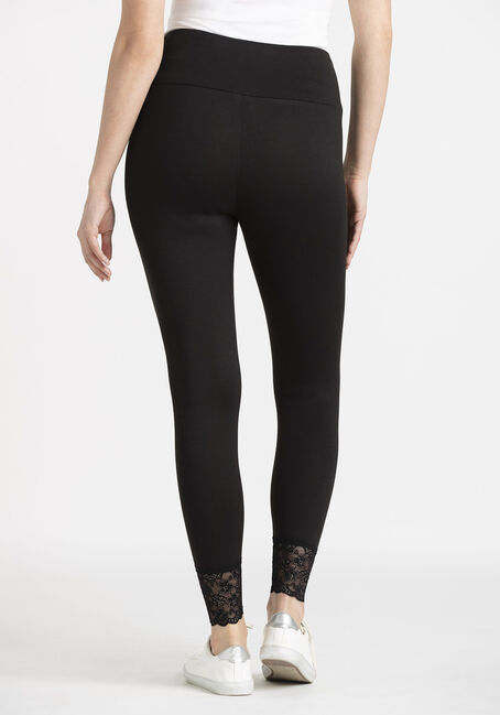 Women's Lace Hem Legging, BLACK, hi-res