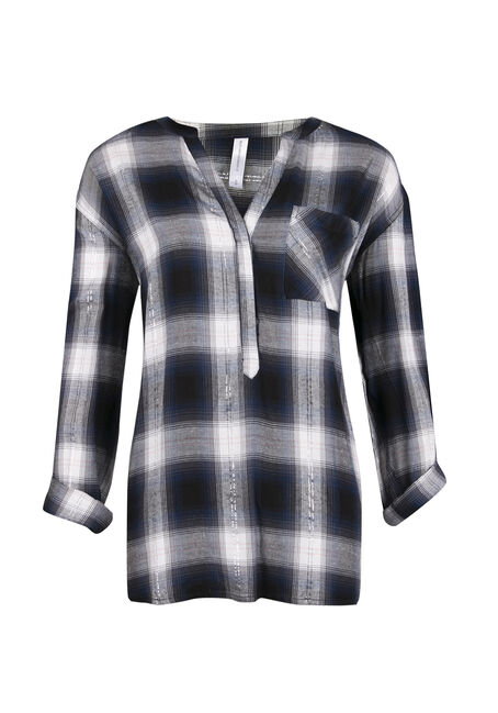 Ladies' Plaid Boyfriend Fit Top