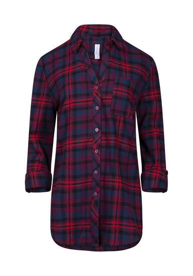 Women's Flannel Boyfriend Shirt, RED, hi-res