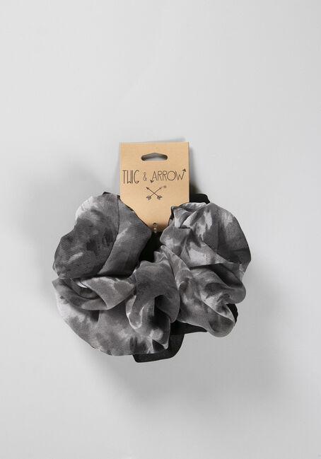 Jumbo Tie Dye Hair Scrunchie, BLACK, hi-res