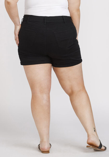 Women's Plus Size Exposed Button High Rise Cuffed Short, BLACK, hi-res