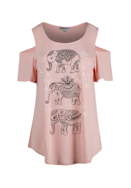 Women's Elephant Cold Shoulder Top