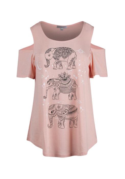 Ladies' Elephant Cold Shoulder Top, ROSE QUARTZ, hi-res