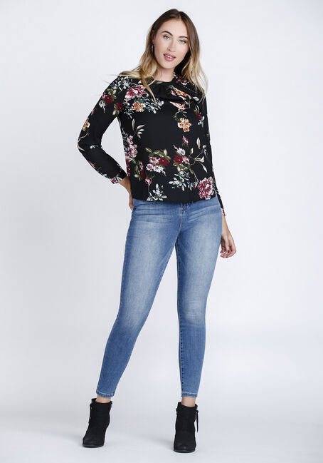 Women's Floral Mock Neck Top, BLACK, hi-res