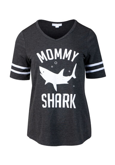 Womens' Mommy Shark Football Tee, CHARCOAL, hi-res