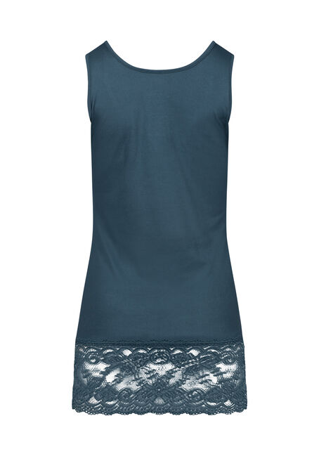 Women's Lace Trim Tunic Tank, PEACOCK, hi-res