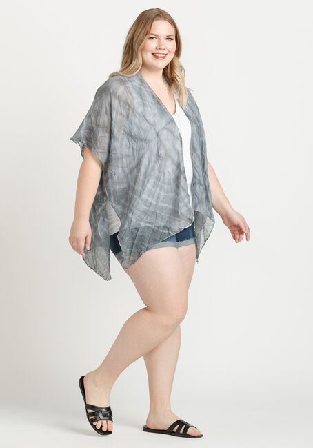 Women's Tie Dye Print Cardigan, GREY, hi-res