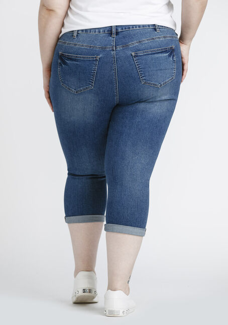 Women's Plus Size Distressed Capri, MEDIUM WASH, hi-res
