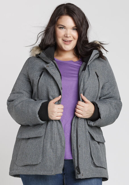 Ladies' Plus Size Fur Trim Parka, GREY, hi-res