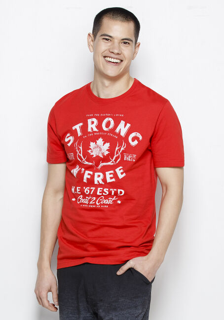 Men's Strong & Free Canadiana Tee, RED, hi-res