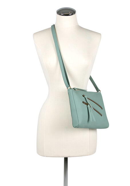Women's Double Zipper Cross Body Bag, PALE BLUE, hi-res