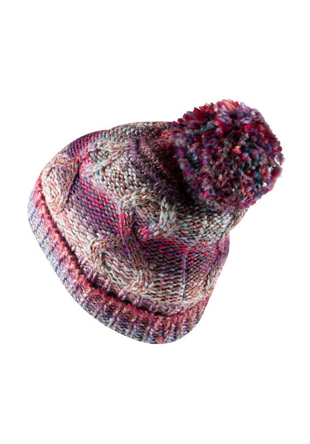 Women's Multi Colour Hat, PURPLE, hi-res