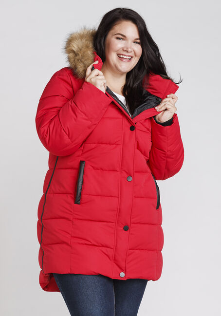 Women's Quilted Parka, RED, hi-res