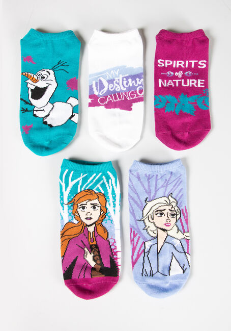 Women's 5 Pair Frozen II Socks, AQUA, hi-res