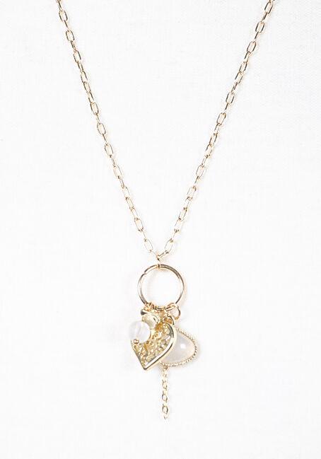 Women's Gold Cluster Pendant Necklace, GOLD, hi-res