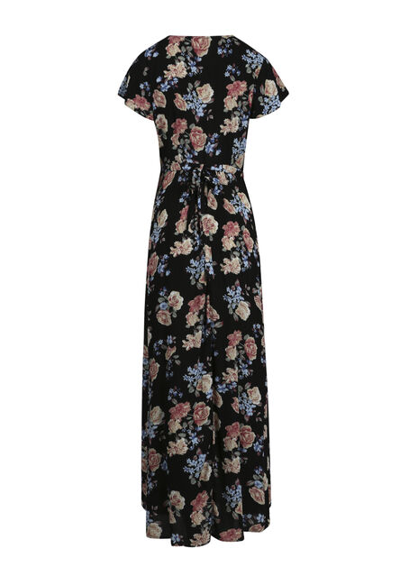 Women's Floral Wrap Maxi Dress, BLACK, hi-res