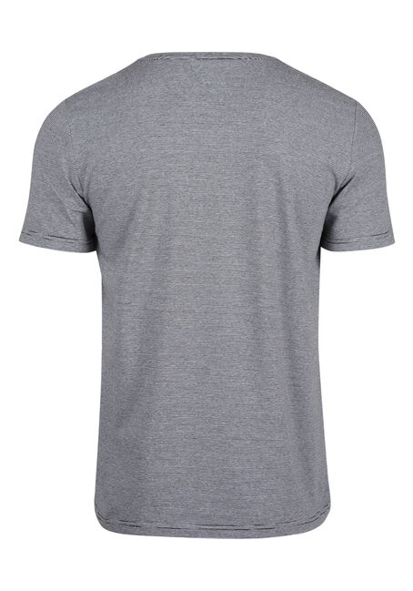 Men's Everyday Mini Stripe V-Neck Tee, BLK/WHT, hi-res