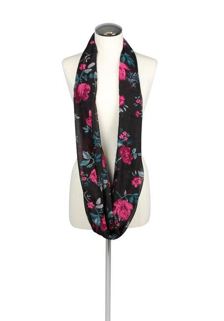 Ladies' Floral Infinity Scarf, DEEP PINK, hi-res