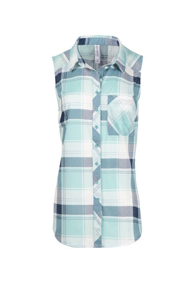 Women's Sleeveless Knit Plaid Shirt, TEAL, hi-res