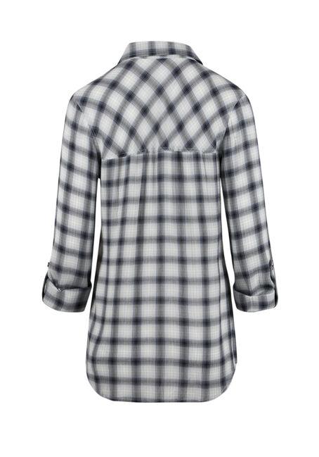 Ladies' Crinkle Plaid Shirt, LIGHT BLUE, hi-res