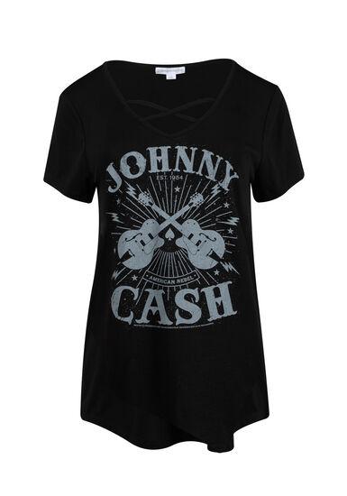 Women's Johnny Cash Cross Neck Tee, BLACK, hi-res