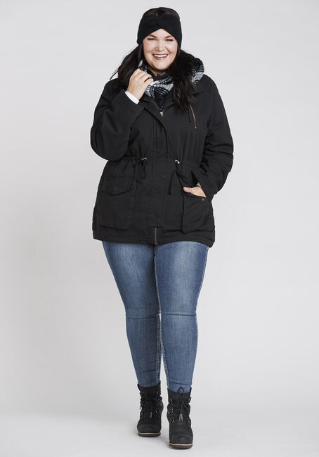 Women's Sherpa Lined Anorak, BLACK, hi-res