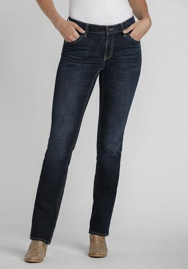 Women's Dark Wash Curvy Bootcut Jeans, DENIM, hi-res