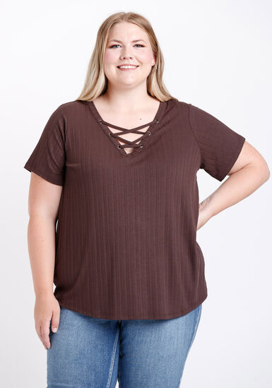 Women's Lace Up Ribbed Tee, COCOA, hi-res