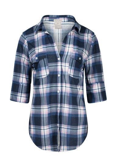 Women's 2-Pocket Plaid Shirt, BLUE/PINK, hi-res