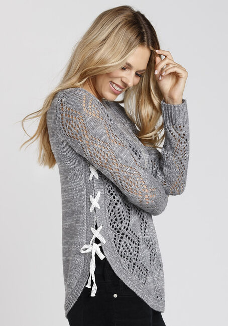 Ladies' Lace Up Pointelle Sweater, GREY/IVORY, hi-res