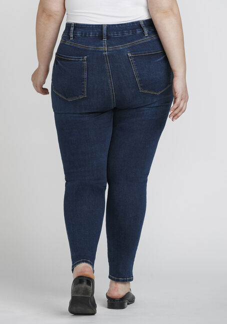 Women's Plus Size High Rise Curvy Skinny Jeans, DARK WASH, hi-res