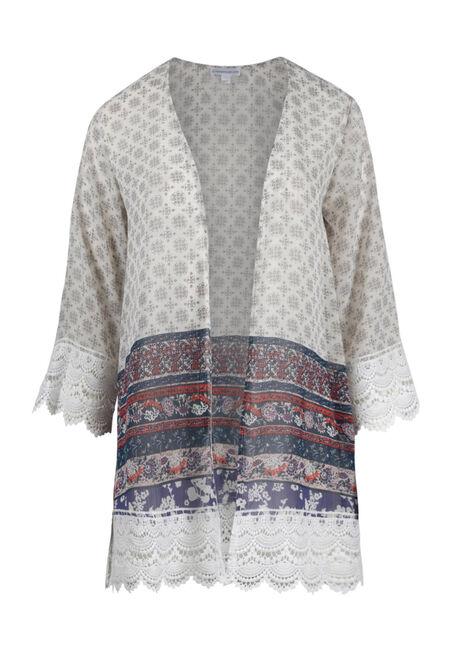 Women's Crochet Trim Floral Kimono