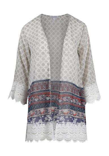 Women's Crochet Trim Floral Kimono, IVORY, hi-res