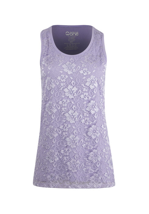 Women's Lace Overlay Tank, LAVENDER, hi-res