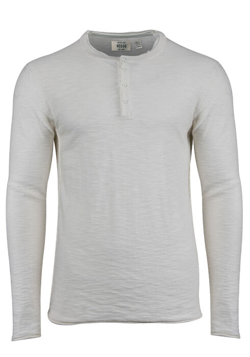 Men's Sweater Knit Henley Top, OFF WHITE, hi-res