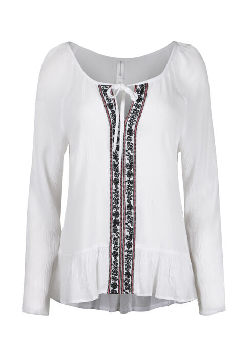 Women's Embroidered Peasant Top, WHITE, hi-res