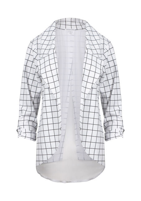 Women's Plaid Chiffon Back Blazer