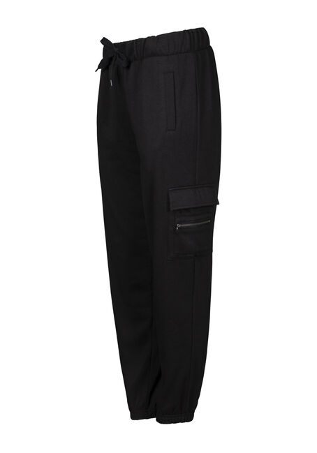 Women's Fleece Cargo Pant, BLACK, hi-res