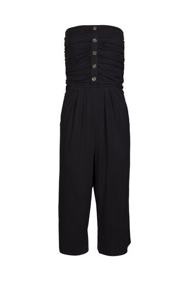 Women's Strapless Jumpsuit, BLACK, hi-res