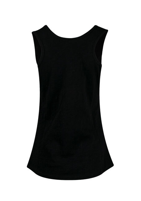 Womens' Scoop Neck Slub Tank, BLACK, hi-res