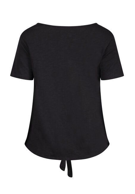 Women's Tie Front Tee, BLACK, hi-res