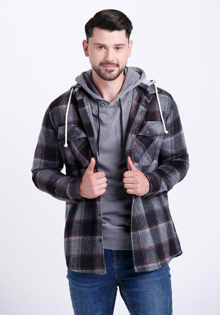 Men's Hooded Plaid Flannel Work Jacket